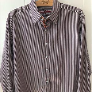 Robert Graham Men's shirt, burgundy stripe, 2XL